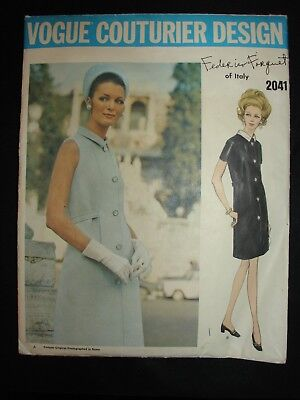 1960's Vintage Vogue Couturier Design Forquet 2041 Sz 14 Dress