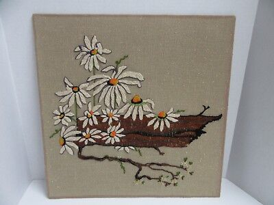 Finished Crewel Tree Trunk Daisy Flowers Daisies Completed 19x19 Vintage