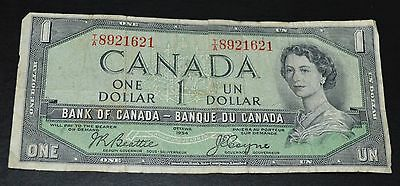 BANK OF CANADA / $1.00 ONE DOLLAR BILL / Ottawa 1954