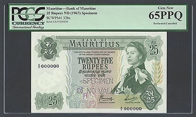 Mauritius 25 Rupees ND(1967) P32bs Specimen Perforated Uncirculated