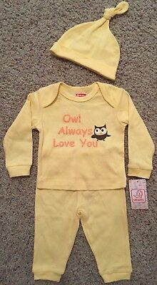 NEW Baby OWL ALWAYS LOVE YOU Sz 3-6 Months Yellow Outfit Long Shirt Pant Hat Set