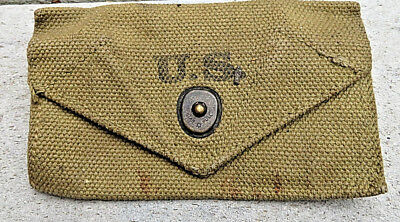 Vintage Wwii Ww2 Us Army Canvas Duty Belt Pouch 1942 Military Field Gear