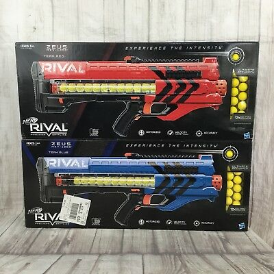 Lot of 2 Nerf Rival Zeus MXV-1200 Red Blue Team Guns New in Box 12 Rounds Gun