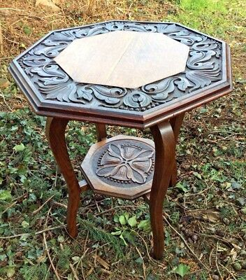Solid Oak Antique Victorian Carved Side Table 73 X 60cms DELIVERY POSSIBLE