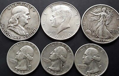 USA   90% Silver coins,  3 x half dollars & 3 washington quarters.. FREE POST.