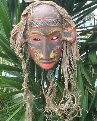 BALINESE HAND MADE & CARVED WOODEN TIKI MASK WITH HAIR 100cmHx18cmW