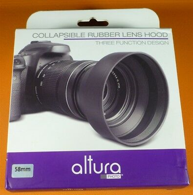 Altura 58mm 3 way collapsible rubber lens hood new in box FREE FAST USPS
