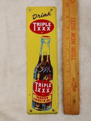 Vintage Triple Xxx Root Beer Tin Litho Door Push/pull Sign With Bottle--10X3!!