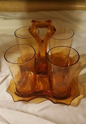 4 Retro Amber Brown Glass Tumblers & Caddy Vintage Optic Depression