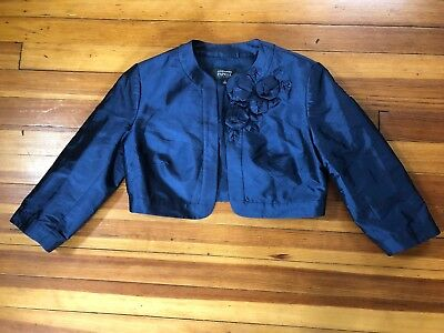 Adrianna Papell Occasions Open Front Blue Formal Bolero Jacket 3/4 Sleeve Size 4