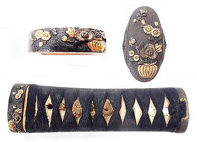 Antique Japanese Fuchi Kashira Tsuka Flowers Dragons Sword Fitting Handle Old