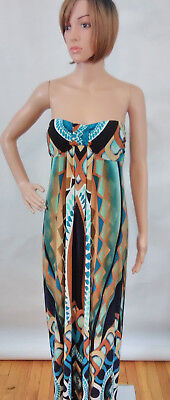 8f3b5d0d03aa Valerie Bertinelli Womens Sz 8 Brown Blue Black Aztec Print Strapless Maxi  Dress