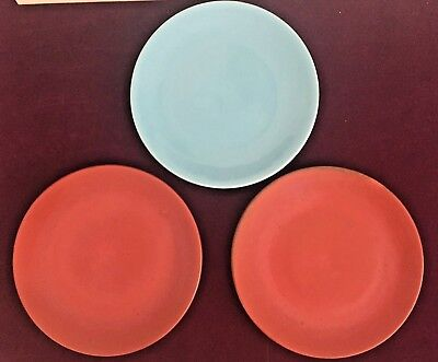 """Lot of 3 Catalina Island Pottery 11"""" Dinner Plates Turquoise & Toyon Red"""
