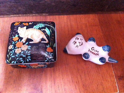ceramic cat trinket box + vintage kitty gum parker