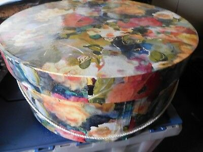 """Vintage Large Hat Box Floral Design with Rope Handle--16"""" Round x 7"""" Tall"""