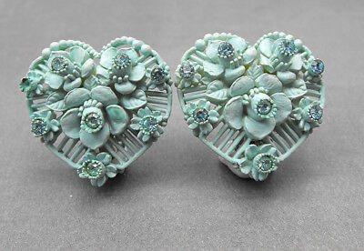 Vintage Robins Egg Blue Heart Shape Flower Earrings Carved Celluloid Rhinestone