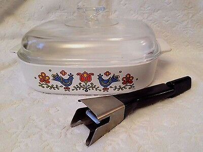 RETRO CORNING 1975-7; Square RARE Country-Festival 10-IN Lidded-Skillet w Handle
