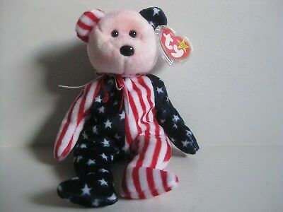 TY Beanie Baby, SPANGLE Pink Red Face Bear, Stars & Stripes Bear 1999 NWT