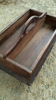 Antique Wood Cutlery Silverware Handled Box/Tray/Holder.. 1800's