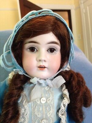 "Antique German Doll 18"" Kestner Bisque Head Kid Leather Body Brunette Beauty!"