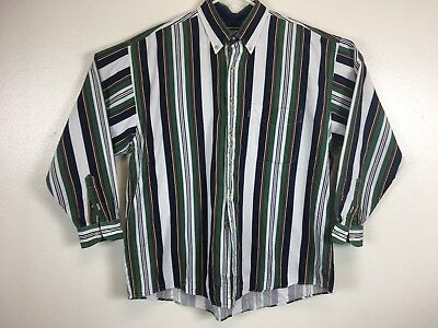 Mens Vintage Izod Long Sleeve Button Down Shirt Color Block Green Red Sz Large
