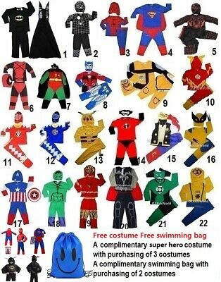 Super hero children's costume for dress up 1-10 yrs Buy 3 get No.23 for FREE