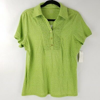 Charter Club Womens Shirt Top Polo 3 Button Y Neck Pleated Green 0X 2X 3X NEW