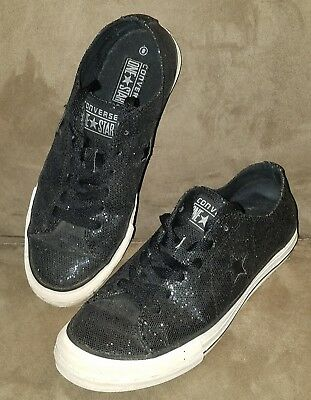 Converse One Star Low Top Sneakers Shoes Black Glitter Sequin Size 8 Women's