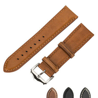 Men's Genuine Leather Watch Strap Band Twister with SS Buckle and Spring Bars