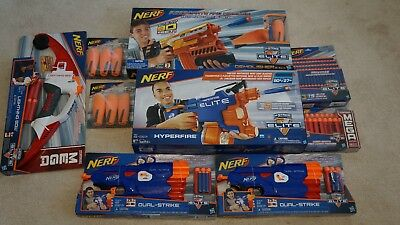Lot of 9 NEW NERF NStrike Elite Hyperfire+Demoliser-Dual Strike+75 Darts+20 Mega
