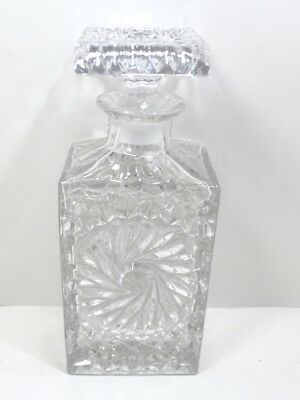 "Vintage Heavy Glass Decanter Pinwheel Design 9 1/2"" Tall"