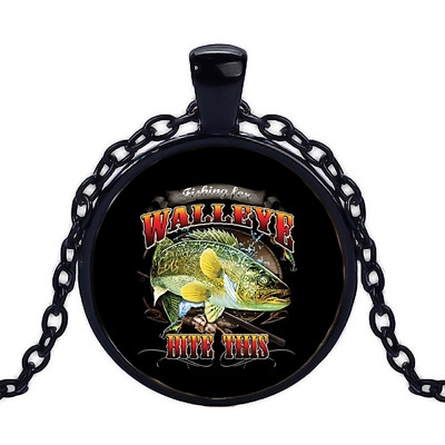 Vintage Walleye-Bite This Black Cabochon Glass Necklace chain Pendant