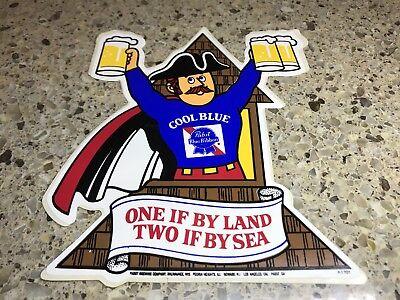 PABST BLUE RIBBON BEER COOL BLUE STICKER PBR Vintage 1970s P-1701 One If By Land