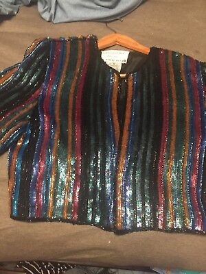 STUNNING! Vtg 80s  Heavily Beaded/Sequin deco trophy bolero SILK Jacket S