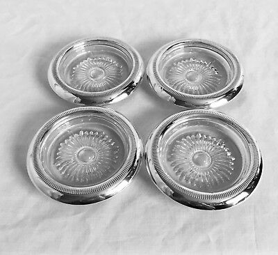"""Lot of 4 Vintage sTc Sterling Silver & Glass 4"""" Coasters"""