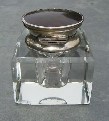 GLASS & SILVER INKWELL WITH TORTOISE SHELL LID HALLMARKED 1820's ENGLAND ANTIQUE