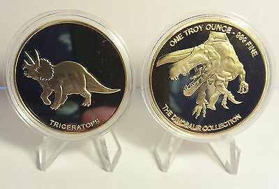 """2014 1 OZ TRICERATOPS COIN """"The Dinosaur Collection"""" Finished in 999 24k Gold"""
