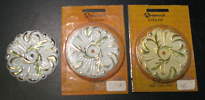 Vintage Amerock Provincial Backplates x3 Ivory Gold French Provincial Flower