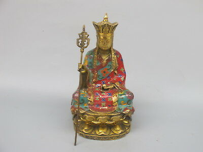 Old China bronze cloisonne enamel King of the Inferno Buddha statue Ornament