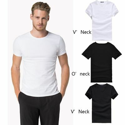Men's V Neck O Neck Cotton T-shirt Solid Short Sleeve Casual Tee Black/White