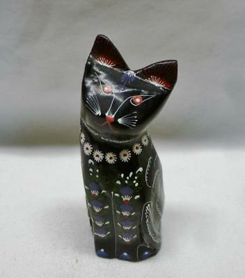 Pretty Hand Painted Black Decorated Sitting Cat From Thailand. Cute!!