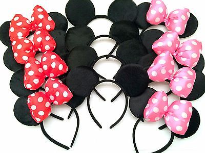 *12 pcs* Minnie Mouse Ears Headbands Black Pink Polka Dot Bow Birthday Party NEW