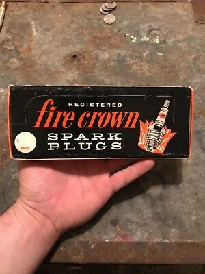 NOS Early 1960's Fire Crown Spark Plugs Automotive Counter-Top Display Box Of 8