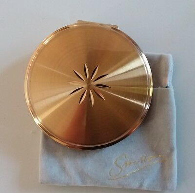 Vintage Stratton Gold Starburst Design Engine Turned With Sleeve Compact Perfect