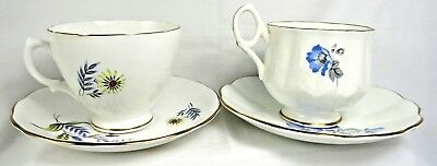 Vintage Bone China Queen Anne Royal Vale 2 Footed Teacups Saucers Set England