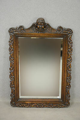 Gorgeous Antique oak wood carved French Mirror with putti angel 1935