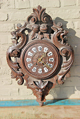 Rare antique Swiss black forest wood carved clock dragons devil gothic 19thc