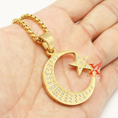 """24"""" St.Steel Gold Allah Muslim Islamic Crescent Moon and Star Pendant Necklace"""