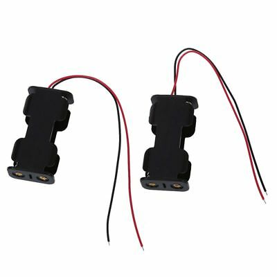 2 Pcs Black Plastic Battery Holder Case w Wired for 2 x AA Batteries D1Z6