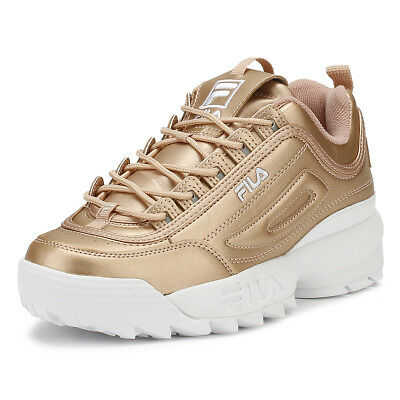 76fb0ccadfa Fila Womens Trainers Metallic Rose Gold Disruptor II Premium Casual Shoes